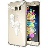 Samsung Galaxy S7 Edge Coque Protection de NICA, Housse Motif Silicone Portable Premium Case Cover Transparente, Ultra-Fine Souple Gel Slim Bumper Etui pour S7-Edge, Designs:Chain Feathers