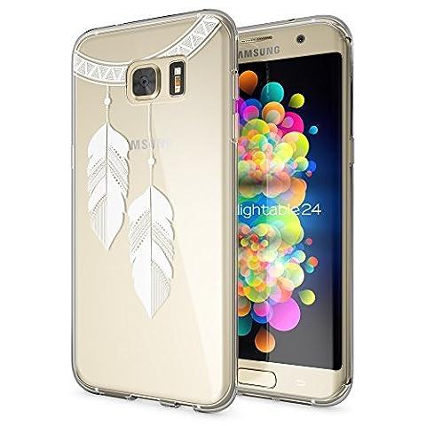 Samsung Galaxy S7 Edge Coque Protection de NICA, Housse Motif Silicone Portable Premium Case Cover Transparente, Ultra-Fine Souple Gel Slim Bumper Etui pour S7-Edge, Designs:Chain