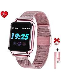 RanGuo - Reloj Inteligente para Hombres, Mujeres y niños, Deportes al Aire Libre Impermeable Smart Watch para Sistema Android y iOS, Apoyo recordatorio de Llamada y recordatorio de Mensaje (Rosa)