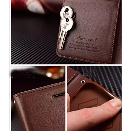 UKDANDANWEI Apple iPhone 8 Hülle ,Flip Wallet Case,Lanyard Strap Leather Stand Handyhülle Portable Lederhülle Anti-Scratch [ID Card Slot] Magnetverschluss Soft Silikon Back Rückseite Cover Tasche Book Schwarz