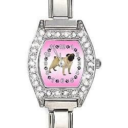 Reloj color plata y piedrecitas ,diseño pug