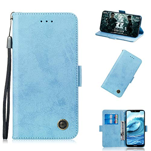 BONROY Nokia 5.1 Plus/Nokia X5 Hülle-Kunstleder Wallet Case für Nokia 5.1 Plus/Nokia X5 mit Kartenfächern und Stand-(TX-Retro Sky Blue)