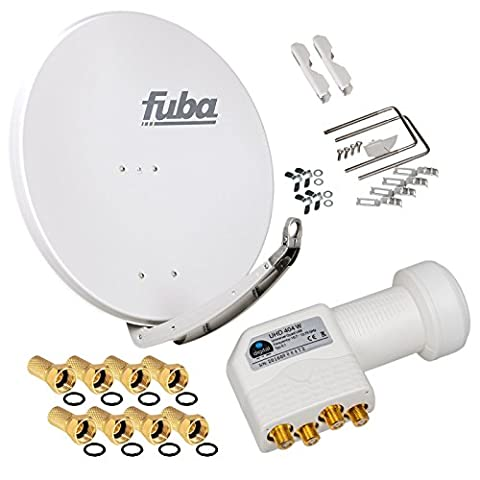 FUBA 4 Teilnehmer Digital SAT Anlage DAA850G hellgrau + Hochwertiger Quad LNB weiß + 8 Vergoldete F-Stecker