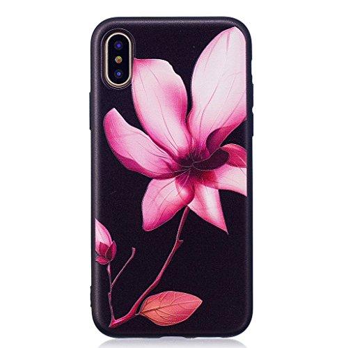Custodia per iPhone X Cover , YIGA Nero Moda Gufo Silicone Morbido TPU molle Case Flessibile Protezione Shell Cover per Apple iPhone X (5,8 pollici) BF39