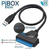 "PiBOX India - USB 3.0 to 2.5"" SATA III Hard Drive Adapter 0.5 M Long Cable w/UASP - SATA to USB 3.0 Converter for SSD/HDD - Hard Drive Adapter Cable - 50 cm -ASM1153e Chipset - 2.5 inch HDD"