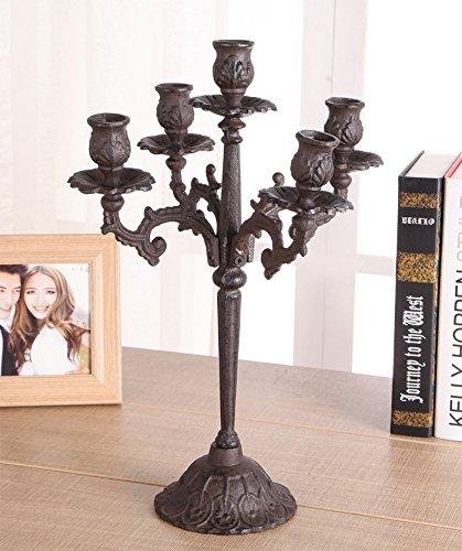Ssehjhs65 Fünf Arm Gusseisen Kerzenständer Weihnachten Dekorative Kerzenhalter Retro Metall Base Spalte Home Hochzeit Requisiten Leuchter (Gusseisen-kerzenständer)