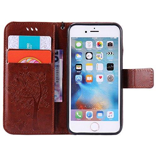iPhone 6S Custodia Portafoglio con Strass, Tebeyy sottile Premium [Portafoglio in pelle Flip Book], Cover con Supporto, [chiusura magnetica] [Card Slot], per Apple Iphone 6/6S 4.7, lusso strass elegan Tree,Brown