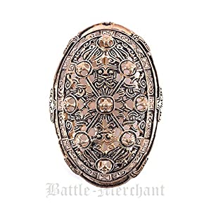 Battle-Merchant Wikinger Schalenfibel aus Silber oder Bronze Gewandschließe Mystische Brosche Wikinger Gewandschmuck Fibel LARP