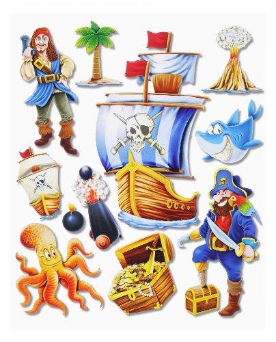 Preisvergleich Produktbild Stickerkoenig Wandtattoo 3D Sticker Wandsticker Kinderzimmer - coole Piraten Set mit Schiff Pirat #500 - Deko auch für Fenster, Schränke, Türen etc auf Bogen