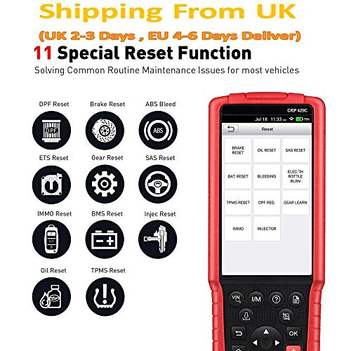 Launch X431 CRP429C OBD2 Scanner ABS SRS TCM ENG + Reset Olio, Reset TPMS, ABS Bleed, Injector Coding, IMMO, EPB, BMS, SAS, Dpf, TPS Deliver