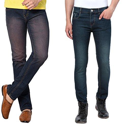 DRUTHERS Men's Combo of Green & Blue Slim Fit Denim Jeans