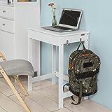 SoBuy® FWT43-W Schreibtisch mit einer Schublade und 2 Haken, Tisch Computertisch Arbeitstisch, weiß BHT ca: 60x76x40cm