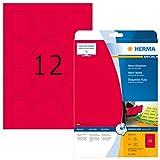 Herma 5156 Neonetiketten rund, farbig, signalstark (Ø 60 mm auf DIN A4 Papier matt) 240 Stück, neon-rot, bedruckbar, selbstklebend