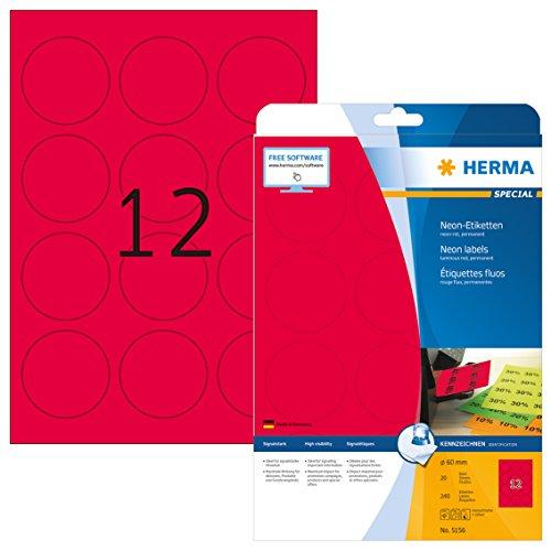 Herma 5156 Neonetiketten rund, neon rot (Ø 60 mm) 240 Farbetiketten, 20 Blatt DIN A4 Papier farbig matt, signalstark, bedruckbar, selbstklebend