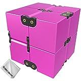 First2savvv rojo Infinity Cube Cubo de Lujo Infinity EDC,Aleación de aluminio, Mini Cubo Fidget para Niños Adultos Ansiedad Alivio de Estré + paño de limpieza,MF-LHJ-08G11