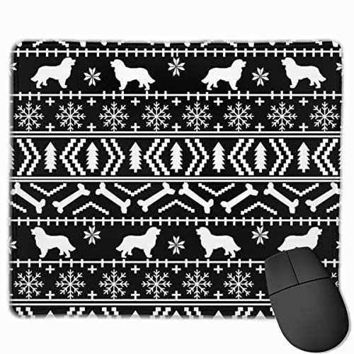Bernese Mountain Dog Fair Isle Christmas Silhouette Black and White Mousepad 18x22 cm -