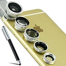 First2savvv JJTSJ-5N1-A16 Plata 5 EN 1 Teléfono móvil universal 5 en 1 Kit clase Camera professional Lente Clip (ojo de pez, gran angular, polarizador, macro y Barlow) para LG OPTIMUS L5 ii E460 OPTIMUS L7 II P710 G2 D802 Nexus 5 D821 G-Flex D955 L40 D160 G PRO 2 G2 MINI D620 G3 D855 G3 S D722 L20 D100 L30 D120 L50 D213 L70 D320 L90 D405 F60 D390N Flex 2 H955 G4 G2 Samsung Galaxy Note Edge Galaxy Note 4 Note 3 Note 2 S5 mini S5 ALPHA K zoom S4 S4 mini A3 A5 CORE Max con lápiz óptico