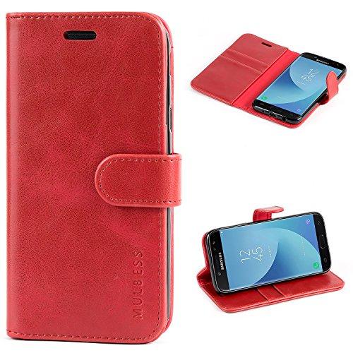 Mulbess Ledertasche im Ständer Book Case / Kartenfach für Samsung Galaxy J5 (2017) Duos Tasche Hülle Leder Etui,Wein Rot