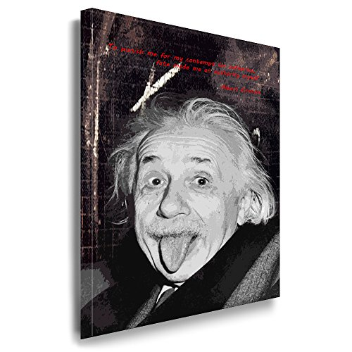 Julia-art Leinwandbilder - Albert Einstein Bild 1 teilig - 40 mal 30 cm Leinwand auf Rahmen - sofort aufhängbar ! Wandbild XXL - Kunstdrucke QN.04-1 (Einstein-bild)