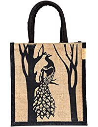 H&B Jute Handbag / Black Peacock Designed Beautiful Handbag / Quality Lunch Bag / Gift Bag / Jute Stylish Lunch...