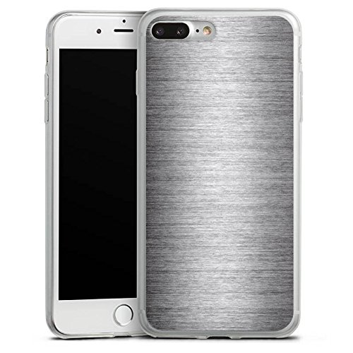 Apple iPhone 8 Slim Case Silikon Hülle Schutzhülle Metal Look Silber Glitzer Metall Silikon Slim Case transparent