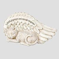 Tier Grabschmuck Katze vor Flügel Grabstein Gedenkstein Grab Deko Garten Figur