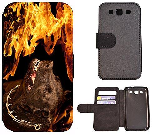 Flip Cover Schutz Hülle Handy Tasche Etui Case für (Apple iPhone 5 / 5s, 1272 Schildkröte Meer Blau) 1273 Hund Böse Feuer Schwarz gelb