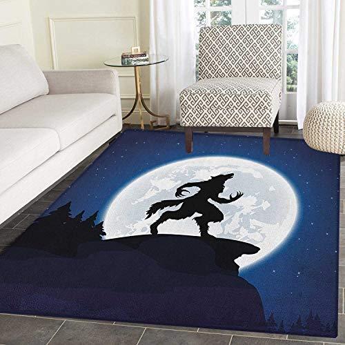 Yaoni Wolf Area Teppich Teppich Vollmond Nachthimmel Knurren Werwolf Fabelwesen in Wäldern Halloween Passen Sie die Fußmatten für das Haus an (Matte 2'x3 ')