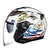 NJ Helm- Doppellinsen-elektrischer Motorrad-Sturzhelm-Männer und Frauen vier Jahreszeiten Winter Anti-fog halber Sturzhelm (Farbe : B, größe : XL)