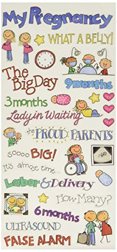 Me & My Big Ideas Sayings Stickers 5-1/2-Inch-by-12-Inch Sheet Packaged, Pregnancy