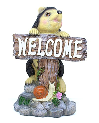 TiedRibbons® Decorative Hedgehog Holding Welcome Plate | garden decors | garden decoration...