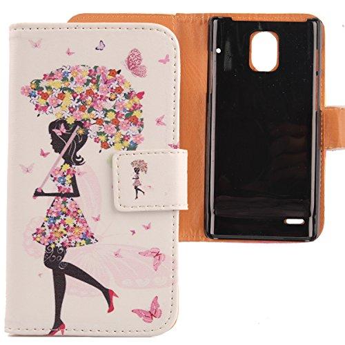 Lankashi PU Flip Leder Tasche Hülle Case Cover Schutz Handy Etui Skin Für Huawei Ascend P1 U9200 Umbrella Girl Design