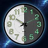 Reloj caidi Pared Luminosa Reloj de Pared silencieuses Fluorescente Reloj Decorative para Cocina, Oficina, Dormitorio, salón 30cm