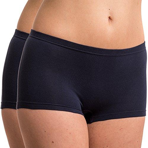 HERMKO 5700 2er Pack Damen Panty aus anschmiegsamer Baumwolle / Elastan, Farbe:marine, Größe:44/46 (L)