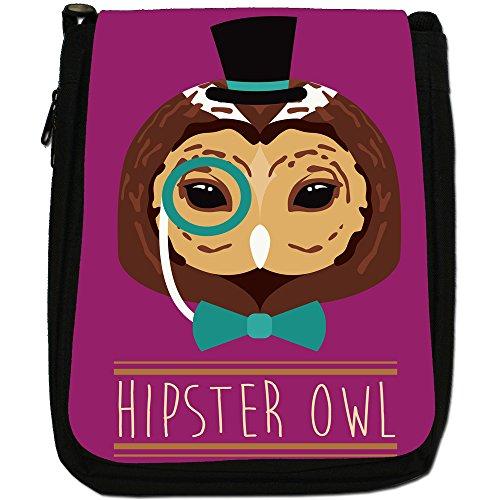 Hipster Bohemian animali Medium Nero Borsa In Tela, taglia M Hipster Bohemian Trendy Owl