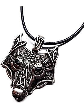 *Premium Quality* Antique Ornate Wolf Face Thor's Hammer *FREE GIFT BAG* SOWILO ALGIZ ANSUZ PERTHRO EIHWAZ Rune...