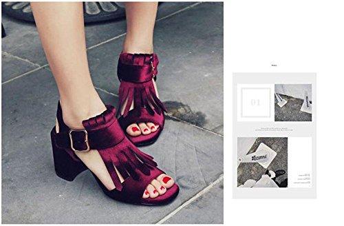 GLTER Femme Pompe à pied Pompe Fermoir à la ceinture Boucles d'oreille Sandales à talons hauts Pompe Slingback wine red