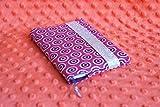 Agenda de poche 2019 et protège-agenda handmade tissu motifs wax ronds rose fuchsia magenta coloré fermeture élastique argenté
