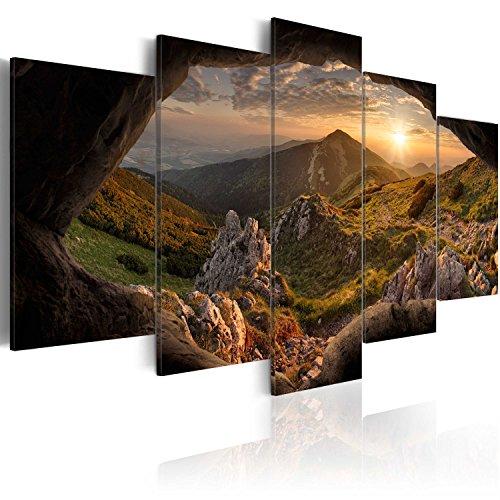 Quadro 200x100 cm - 5 Parti - Quadro su tela fliselina - Stampa in qualita fotografica - Astratto - Monte Natura Paesaggio c-A-0079-b-m 200x100 cm B&D XXL