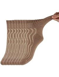 8 pares de Calcetines para diabéticos unisex Medias almohadillas de algodón transpirables y antibacterianas Brown9-11