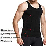Maglietta da uomo modellante, dimagrante, elastica, contenitiva, colore nero