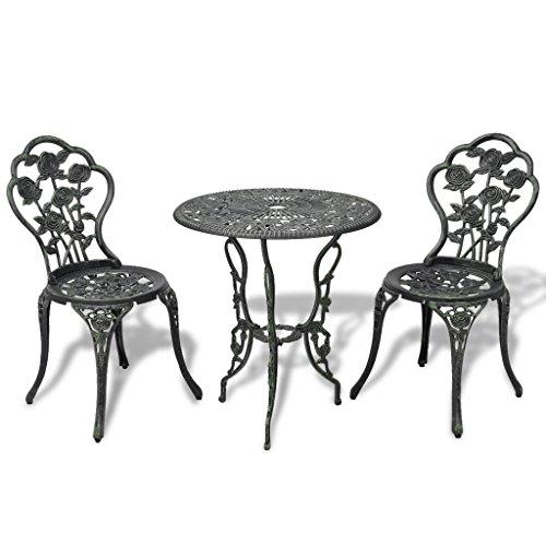 vidaXL 3tlg. Bistro Set Tisch 2 Stühle Essgruppe Sitzgruppe Gartenmöbel Aluguss Bistro-stuhl