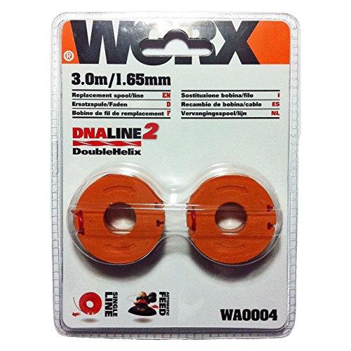 WORX WA0004.1 Rasentrimmer Faden für alle 20V WORX Rasentrimmer - Langlebige Ersatzfaden Spulen für verbesserte Schneidgeschwindigkeit - Ø 1,65mm, 3m Länge - 2er Set