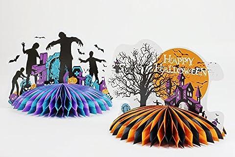 SUNBEAUTY 2pcs Set 3D Halloween Centerpiece Decor Table Decorations Paper (Zombie+Haunted House)
