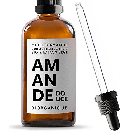 Olio di Mandorla Dolce 100% Biologico, Puro e Naturale e Spremuto a Freddo-100ml-Cura per Corpo, per la Pelle, Anti-età, per il Viso, per i Massaggi