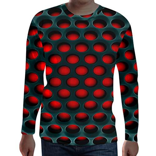 Herren Essential Basic Slim Fit Langarm 3D Drucken Rundhals Shirt Longsleeve T-Shirt Sweatshirt -