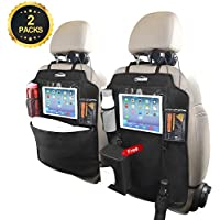 """Oasser 2PCS Kick Mats Car Organisers Waterproof Seat Back Protectors with 10"""" iPad Tablet Touch Screen Holder Multi Pockets Including Tissue Box"""