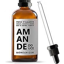 Aceite de Almendra Dulce 100% Bio, Pure y Natural y prensado en frío (–100ml–Cuidado para cuerpo, piel, Antiedad, cara, masaje