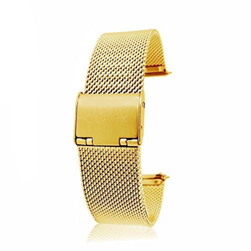 Clarkwatches Premium Uhrenarmband Gold 18mm mit Schnellverschluss | Mesh Milanaise Edelstahl Metall Armband Uhren | Wechseln ohne Werkzeug