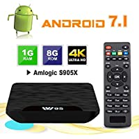 Android TV Box - VIDEN W1 Newest Android 7.1 Smart TV Boxsets, Amlogic Quad-Core, 1GB RAM & 8GB ROM, 4K Ultra HD, Support Video Encoder for H.264, WIFI Media Player - ukpricecomparsion.eu